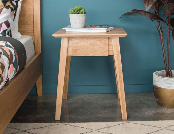 Wood Bedside With Draw
