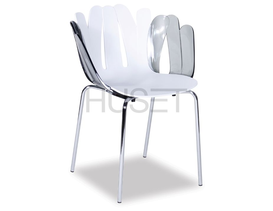 Daisy ArmChair White With Smoke Arms