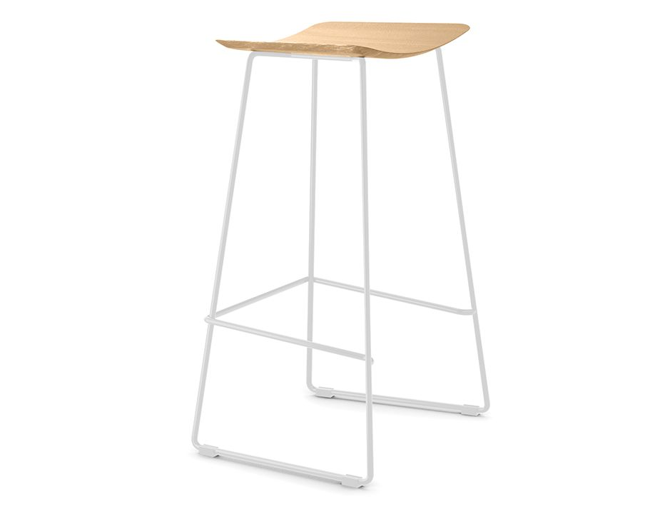 Winnie Stool White With Natural Oak Seat