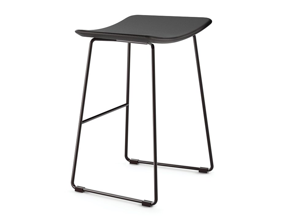 Winnie Stool Black With Black Leather Seat