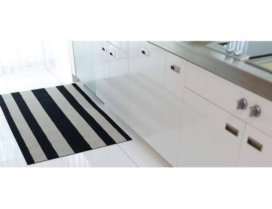 Chilewich Shag Bold Stripe Black White Utility