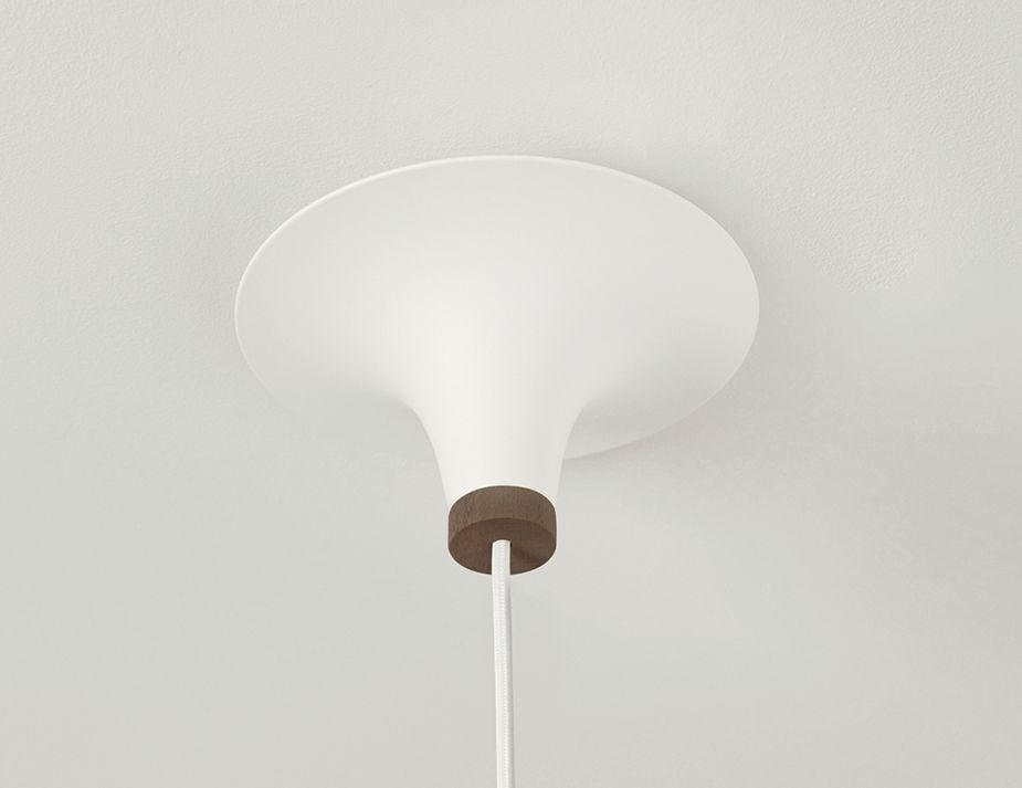 Acorn_0002_Northern Lighting Acorn Pendant Light White With Walnut Canopy Detail