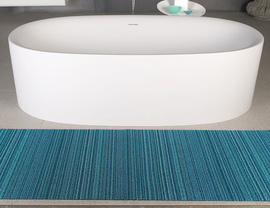 Chilewich Shag Skinny Stripe Turquoise Bathroom