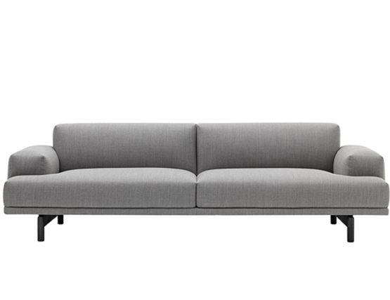 3 Seat Grey Black Leg