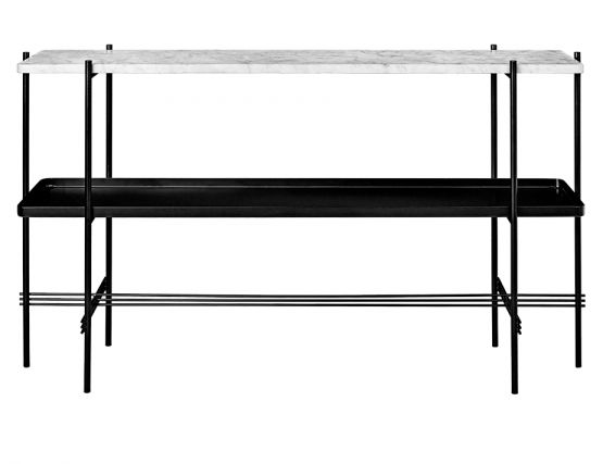 GUBI_CONSOLE_TALL_0000_TS_Console_2 Rack_Tray_120x30x72_Black_Marble_WhiteCarrara_Front
