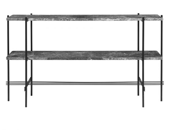 GUBI_CONSOLE_TALL_0008_TS_Console_2 Rack_120x30x72_Black_Marble_GreyEmperador_Front