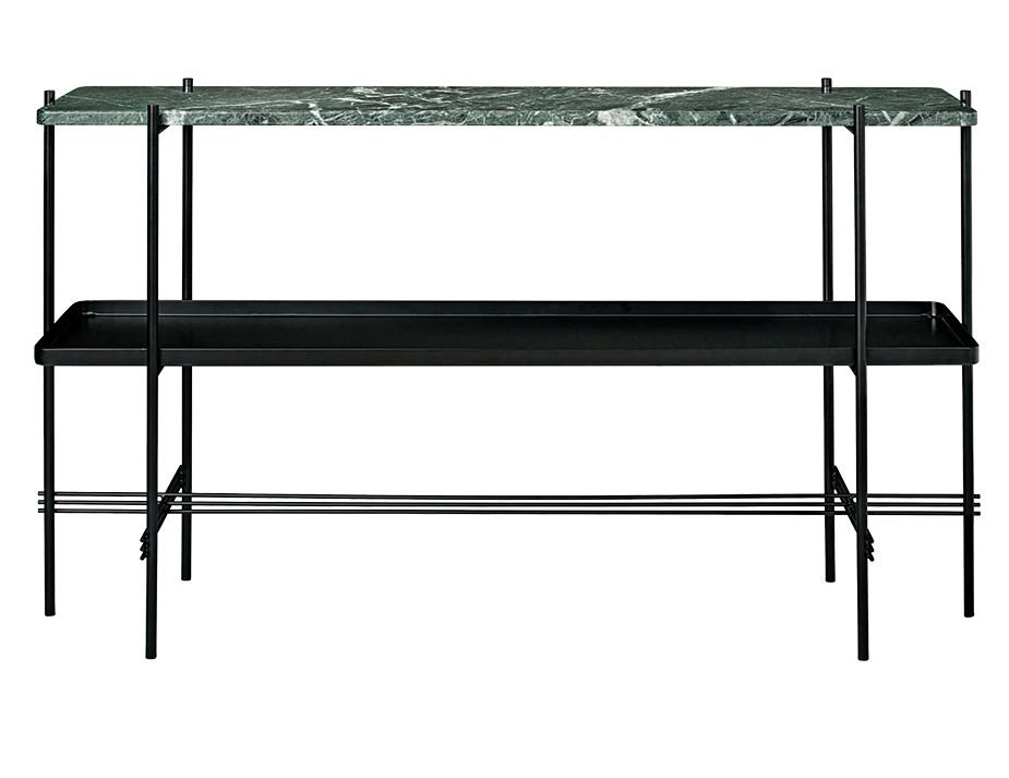 GUBI_CONSOLE_TALL_0002_TS_Console_2 Rack_Tray_120x30x72_Black_Marble_GreenGuatemala_Front