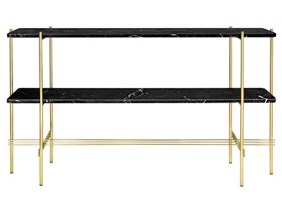 Brass_Gubi_Console_0003_TS_Console_2 Rack_120x30x72_Brass_Marble_BlackMarquina_Front